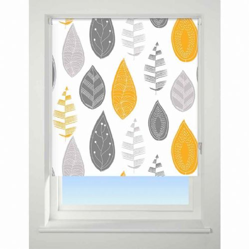 Universal Patterned Blackout Roller Blind - Leaf Yellow